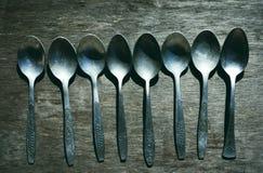 Old aluminium spoons Stock Images
