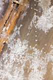 Old aluminum background detail of a military aircraft, surface corrosion. Stock Photo