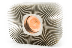 Old aluminum cpu cooler heat sink stock photo