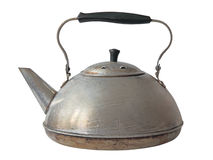 Old aluminum kettle.Isolated. Old aluminum kettle isolated on white background royalty free stock image