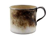Old aluminum mug. Isolated on a white background Royalty Free Stock Photo