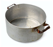 Old aluminum pan isolated on white background stock image