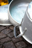 Old aluminum pots Stock Photos