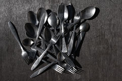 Old aluminum spoons and forks Royalty Free Stock Photos