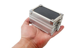 Old aluminum suitcase in the hand Stock Photography