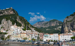 Old Amalfi. The quae of the scenic Amalfi town located among the rocks. Italy Stock Photography