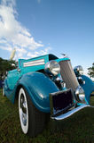 Old american car. Close up of vintage blue american car Royalty Free Stock Photo