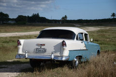 Old american car on beach in Trinidad Cuba Stock Photography