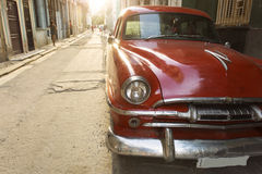 Old american car on beautiful street of Havana, Cuba Royalty Free Stock Photos