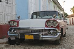 Old american car. In Cuba Stock Photos
