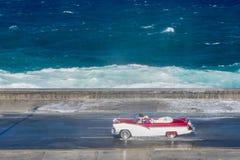 Old american car at Cuba. Old american car riding at Malecon, Havana Stock Photos