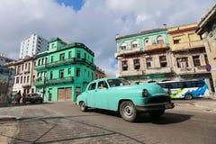 Old american car on the Havana street Royalty Free Stock Image