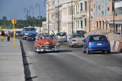 Old American car on the Malecon, Havana, Cuba Stock Images