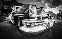 Old american car. Black and white image royalty free stock image