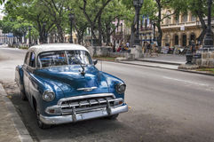 Old american car in Old Havana, Cuba. Old american car parked in Prado, Old Havana, Cuba stock photo