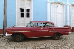 Old american car. On the road of Cuba Stock Photo