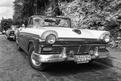 Old american car on the road Old Havana, Cuba. Royalty Free Stock Photo