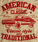 Old American Car Vintage Classic Retro man T shirt Graphic Desig Stock Photography