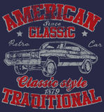 Old American Car Vintage Classic Retro man T shirt Graphic Desig. N Royalty Free Illustration