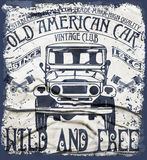 Old American Car Vintage Classic Retro man T shirt Graphic Desig. N fashion style Vector Illustration