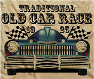 Old American Car Vintage Classic Retro man. T shirt Graphic Design Royalty Free Illustration