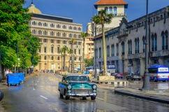 Old American cars on Havana royalty free stock photos