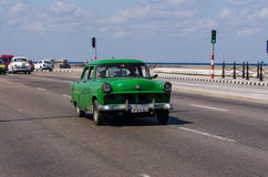 Old American cars on Malecon in Havana , Cuba Royalty Free Stock Photography