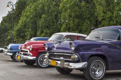Old american cars parked in Havana, Cuba Stock Images