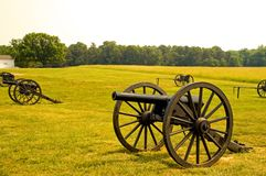Old American Civil War cannons. A view of several American Civil War cannons with ammunition wagons in the background, found on the Manassas Battlefield Stock Photography