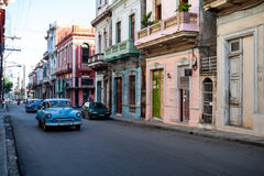 Old American Classic Cars in the streets of Old Havana, Cuba Royalty Free Stock Photography