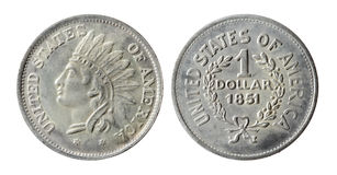 Old American coin. On a white background (1851 year stock photos
