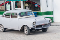 Old American Cuban car in body shop repair stage and circulating in the streets Stock Photography