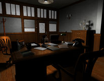 Old American detective agency. 3D rendering of an old American film noir detective agency in Sil Royalty Free Stock Images