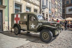 Old American Dodge military ambulance car parked