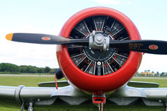 Old american fighter plane engine. Prop radial engine close up details. Old WW2 US Air Force fighter plane parked on airport grassy field. Restored LTA-821 Stock Image