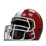 Old American Football Helmet. Red helmet with dirt and scratches. Perspective view. Oldschool Used Sport Equipment. 3D render Illustration isolated on a white Stock Photos