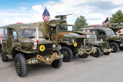 Old American military vehicles exposed in Normandy, France Royalty Free Stock Photo