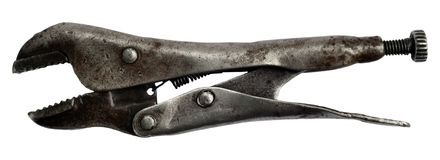 Old american pliers-spanner Royalty Free Stock Photo