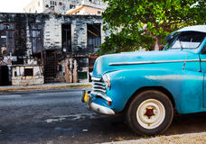 Old American retro car (50th years of the last century), a in the city, on the street January 27, 2013 in Old  Havana, Cuba Stock Photo