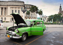 Old American retro car (50th years of the last century), an iconic sight in the city, on the Malecon street January 27, 2013 in O Stock Photo