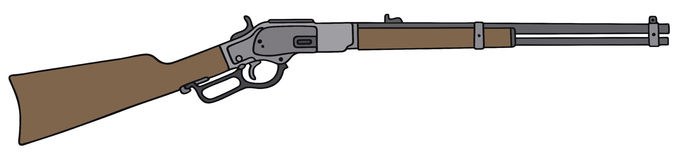 Old american rifle. Hand drawing of a vintage american gun Royalty Free Stock Image