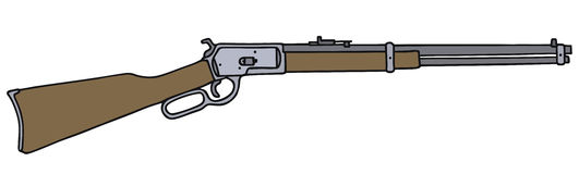 Old american rifle. Vintage american rifle, vector illustration, hand drawing Stock Illustration