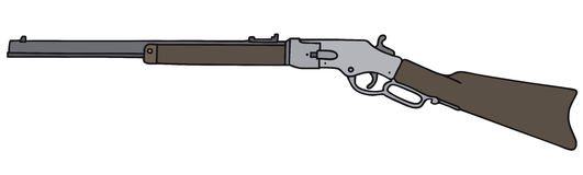 Old american rifle. Vintage american rifle, vector illustration, hand drawing Vector Illustration
