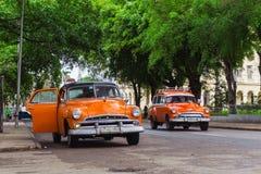 Old american taxi cars on Havana street, Cuba stock photos