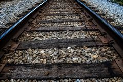 Old American Train and Railroad Tracks stock image