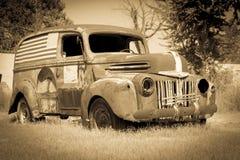 Old American van deserted rusting away Stock Photo