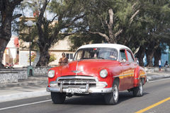 Old American vintage cars action, Santa Clara, Villa Clara, Cuba Royalty Free Stock Photo