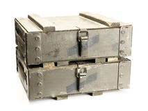 Old ammunition boxes Stock Image