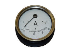 Old ampermeter. Old device for amper measuring royalty free stock photography