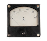 Old ampermeter. Isolated on white background royalty free stock photos